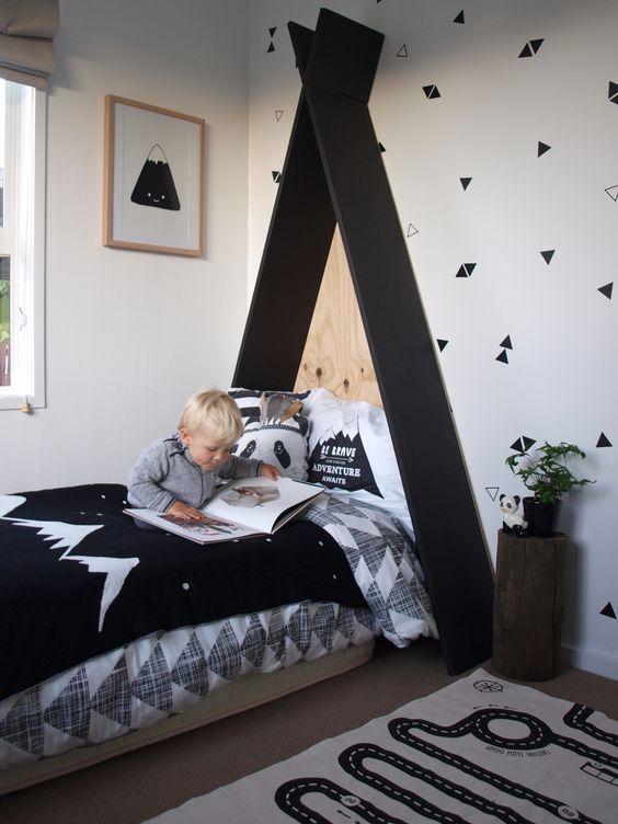 Cabeceira infantil preta para cama infantil