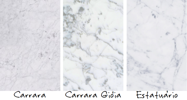 Cores de mármore carrara