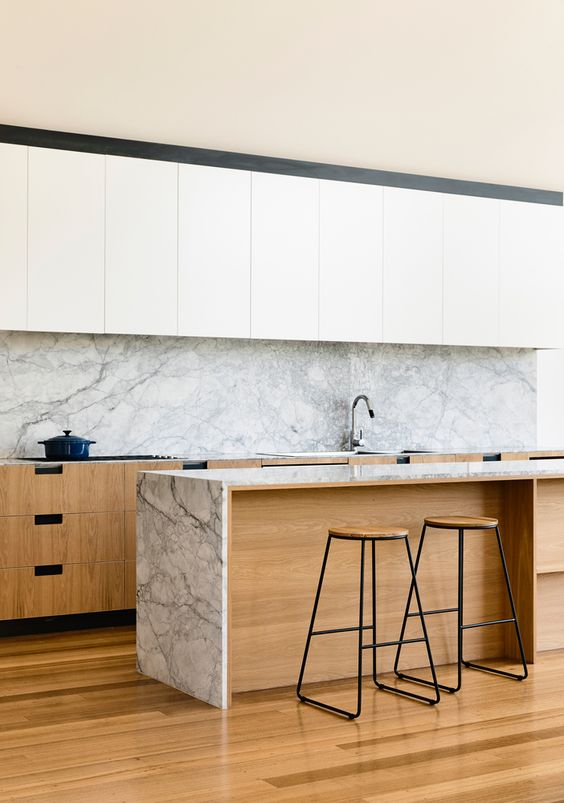 Cores de mármore para cozinha branca