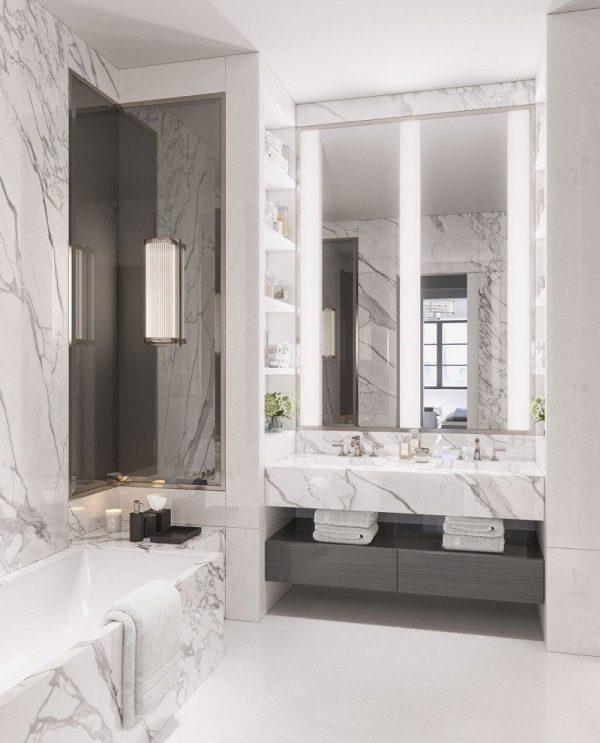 Cores de mármore para banheiro com espelho e iluminação