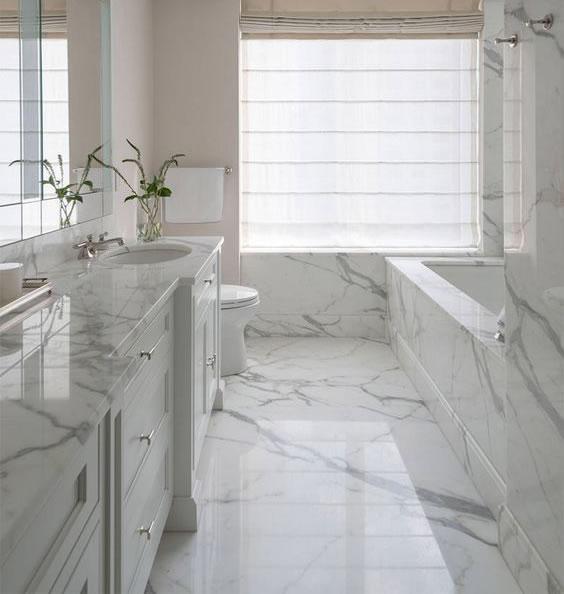 Cores de mármore para usar no banheiro moderno