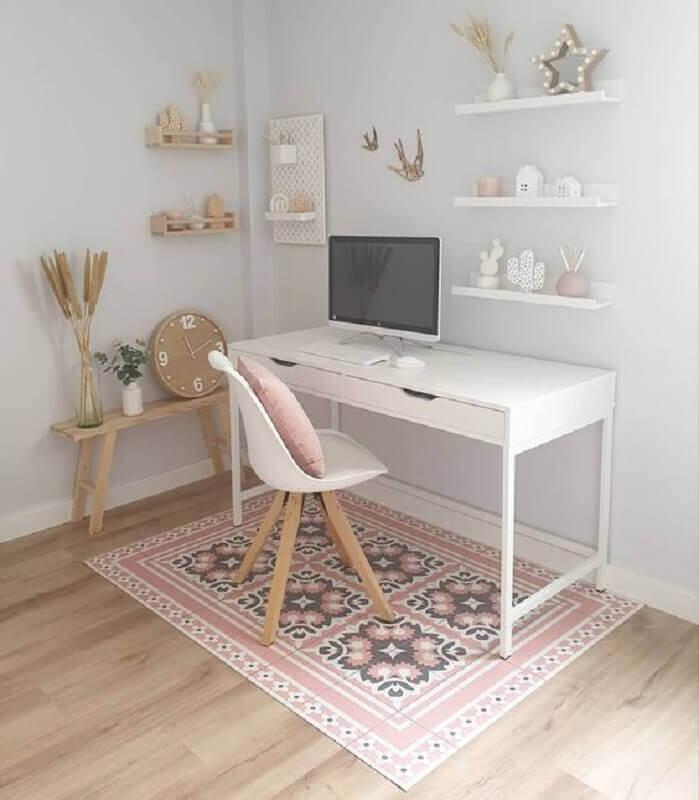 decoração clean com mesa para home office branca com gavetas Foto Princesas Empreendedoras