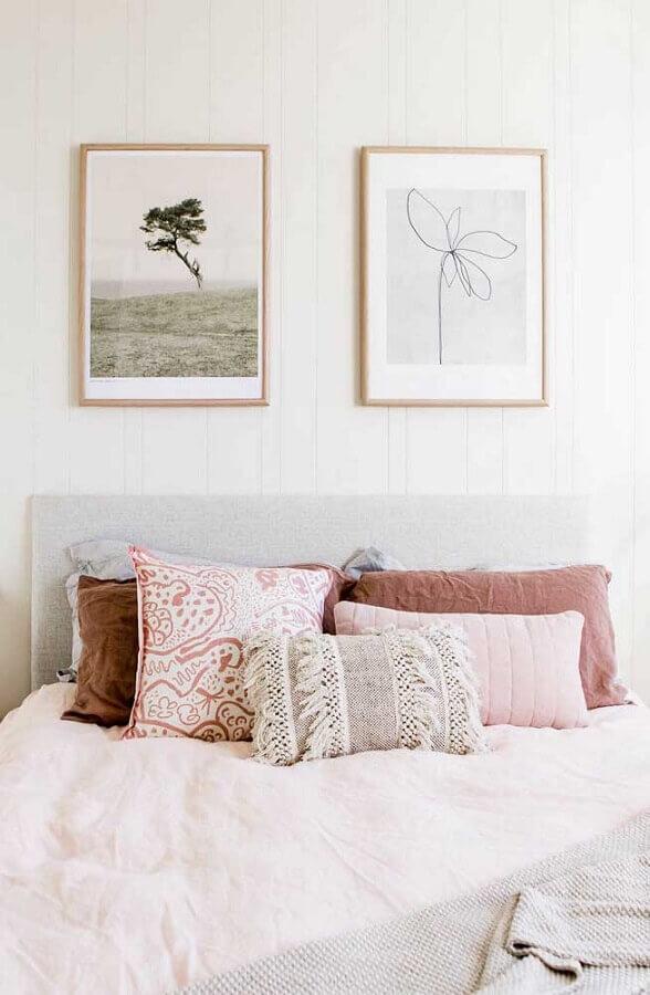 decoração clean com quadros para quarto feminino Foto Jeito de Casa
