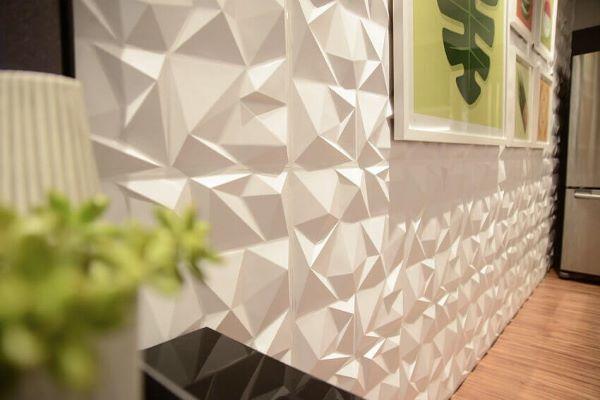 Decoração clean com revestimento 3D para sala de estar