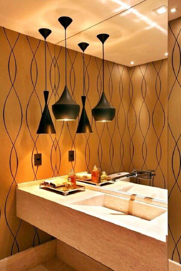 decoração com lustre pendente para banheiro Foto Simples Decoração
