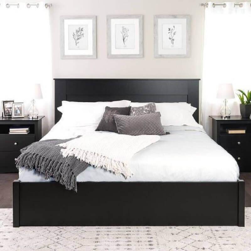decoração de quarto com cabeceira preta de madeira  Foto Pinterest