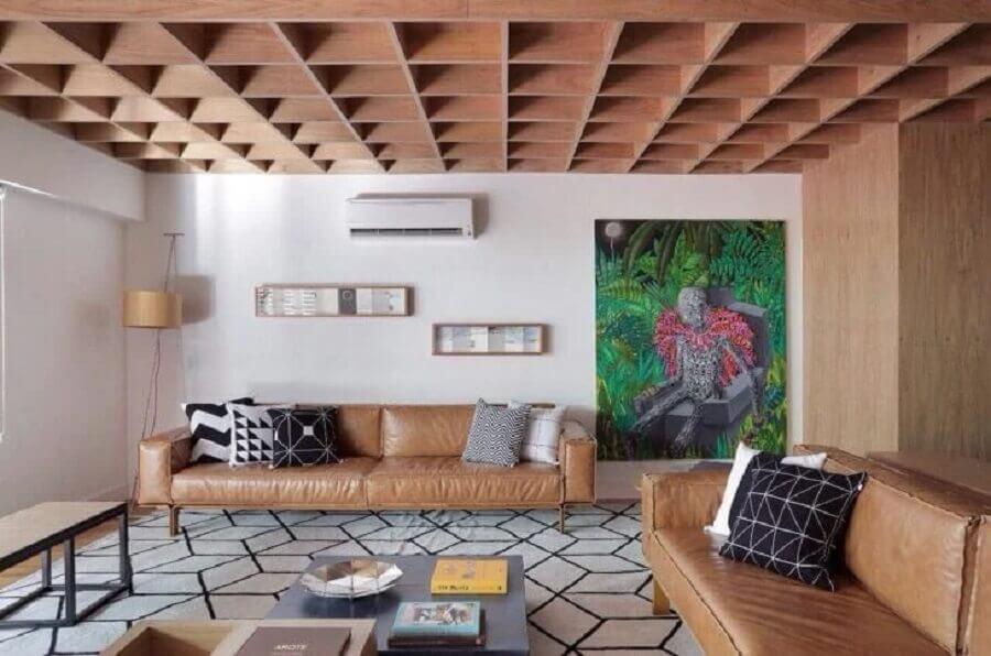decoração de sala com quadro grande e sofá marrom claro  Foto PBK Arquitetura