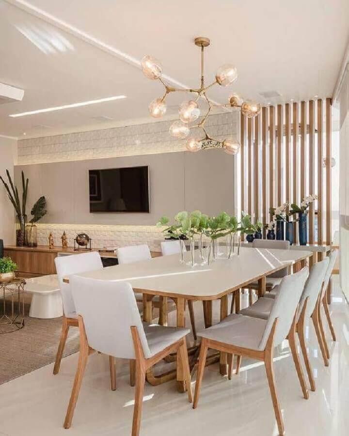 decoração de sala de jantar com lustre pendente moderno Foto Pinterest