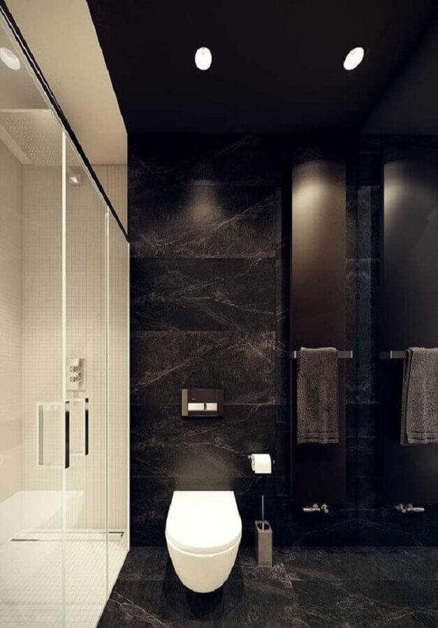 decoração moderna de banheiro preto e branco planejado  Foto Pinterest