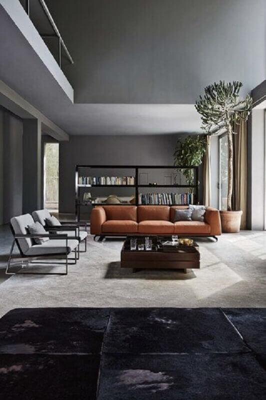 decoração moderna para sala cinza com sofá marrom  Foto Architonic