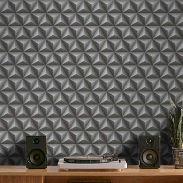 Decoração moderna com revestimento 3D adesivo cinza