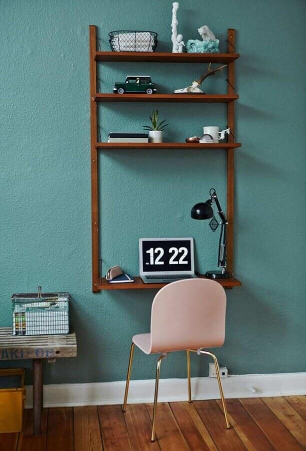 decoração simples com mesa para home office suspensa Foto DecoraPro