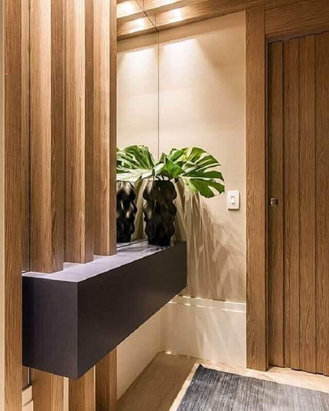 decoração sofisticada para hall de entrada pequeno com aparador planejado Foto Simples Decoração