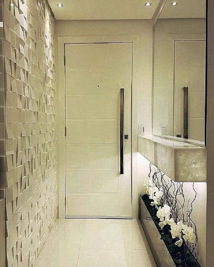 decoração sofisticada para hall de entrada pequeno com espelho e revestimento 3d Foto Simples Decoração