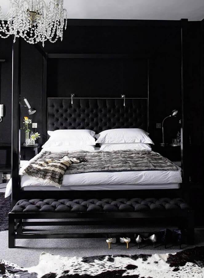 decoração sofisticada para quarto com cabeceira preta capitonê Foto Home Fashion Trend
