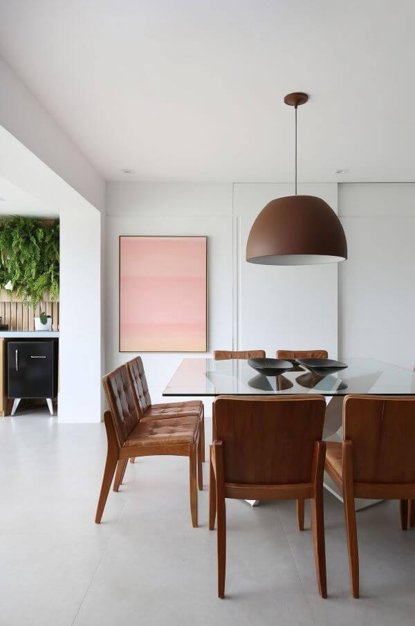 Decoração sala de jantar com mesa de vidro