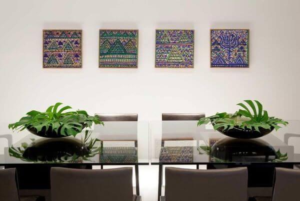 Mesa de jantar de vidro para sala