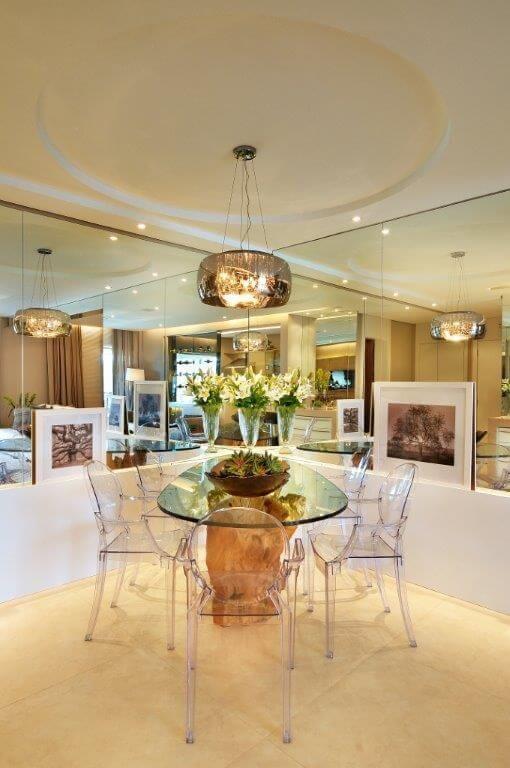 Decoração para sala de jantar de vidro redonda