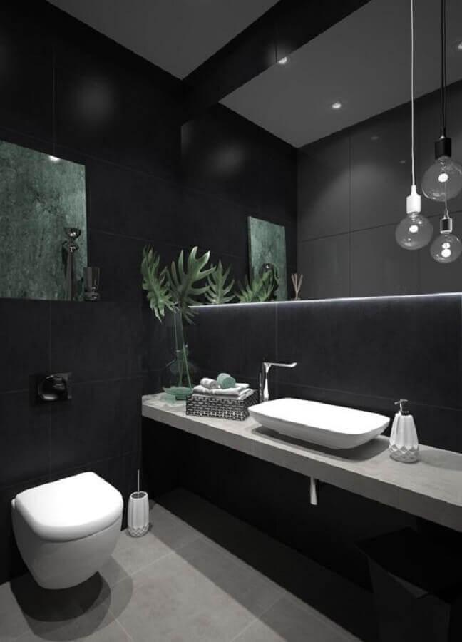 espelho com led para decoração de banheiro preto e cinza  Foto Behance
