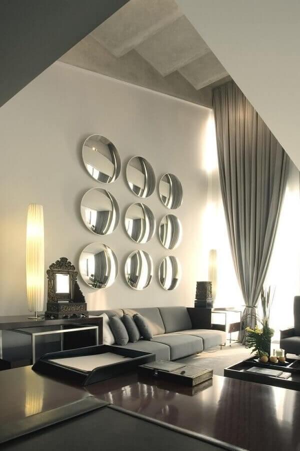 espelho de parede redondo para sala de estar cinza moderna  Foto Futurist Architecture