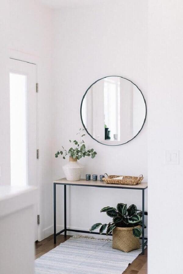 espelho redondo para decoração de hall de entrada pequeno minimalista Foto Apartment Therapy