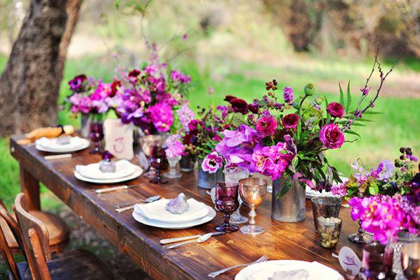 Flores roxas para decoração em tons de roxo