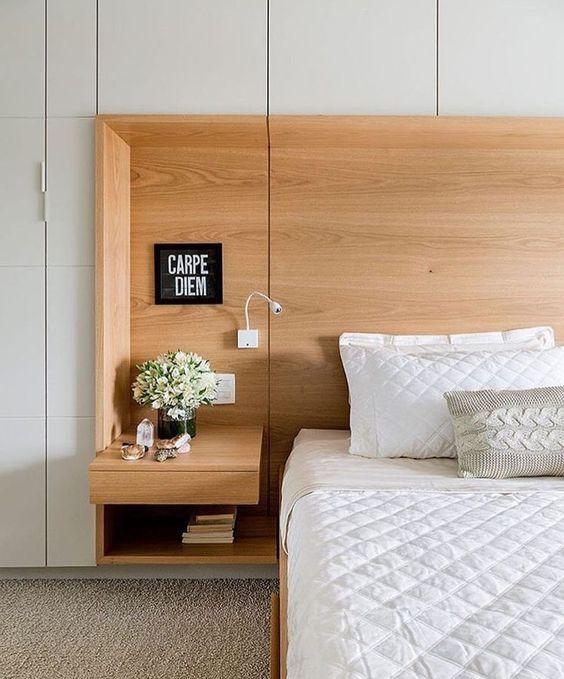 Guarda roupa com cabeceira de madeira