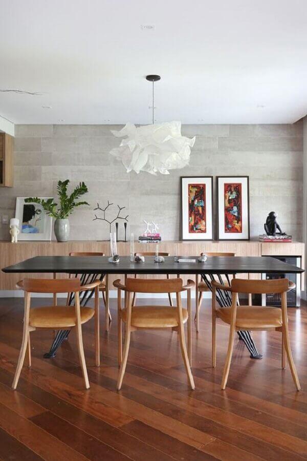lustre pendente branco moderno para decoração de sala de jantar ampla Foto Casa de Valentina
