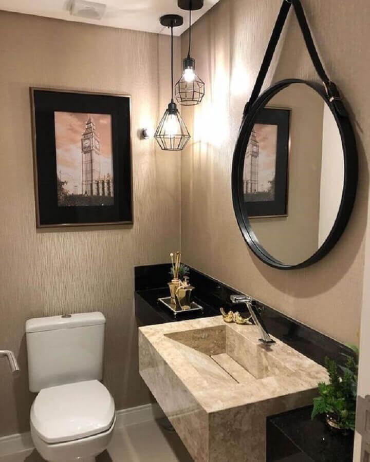 lustre pendente para banheiro decorado com espelho redondo com alça Foto Pinterest