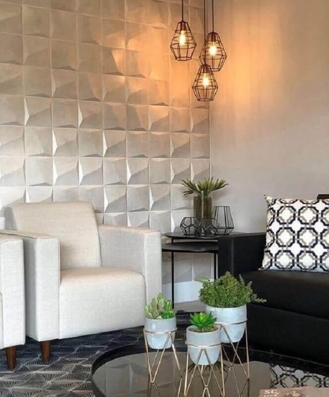 lustre pendente para sala decorada com revestimento 3d Foto Pinterest