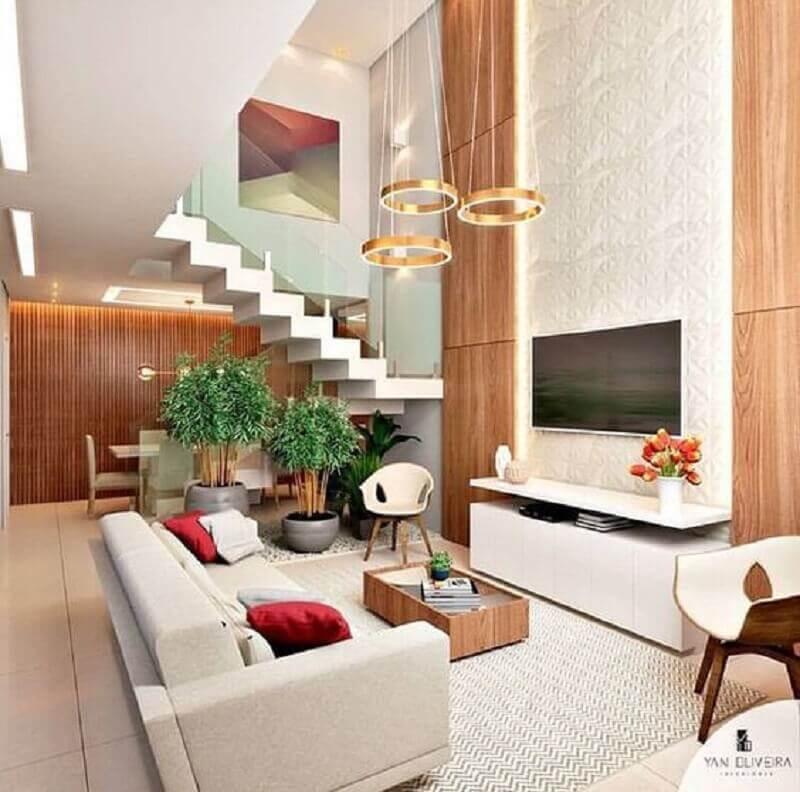 lustre pendente redondo dourado para sala de estar moderna e sofisticada Foto Pinterest