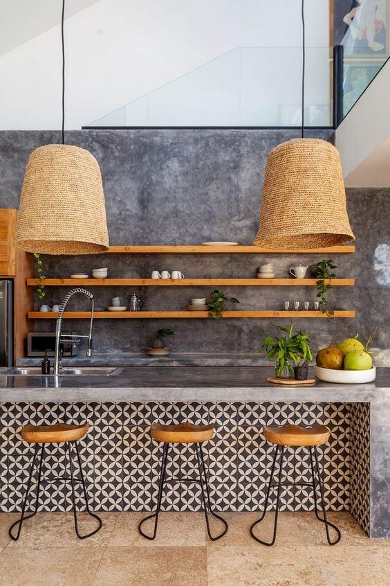 Lustre rústico para cozinha moderna