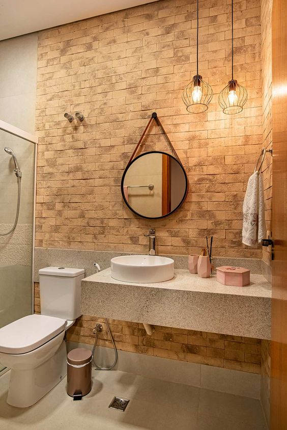 Lustre rústico para banheiro de ferro