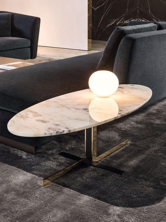 Mesa de centro oval de mármore para sala sofisticada