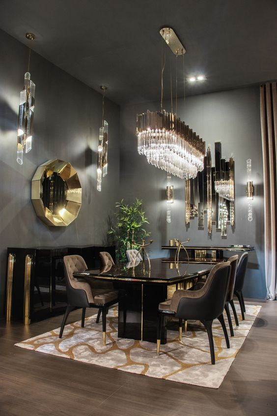 Mesa de jantar preta na sala de luxuosa