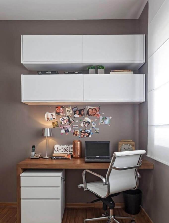 mesa de madeira para home office com gaveteiro branco Foto Pinterest