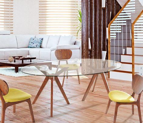 Mesa de jantar oval de vidro