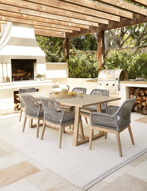 Mesa para varanda gourmet com churrasqueira