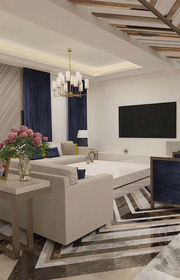 modelo de lustre pendente moderno para sala de estar cinza e azul Foto Pinterest