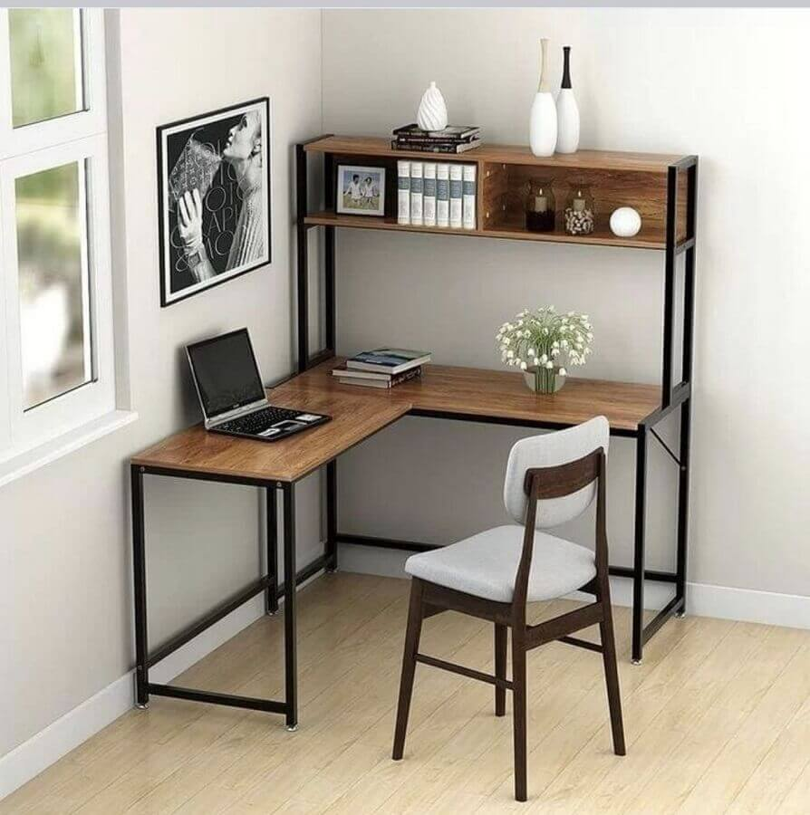 modelo simples de mesa para home office  de canto Foto Tribesigns Official