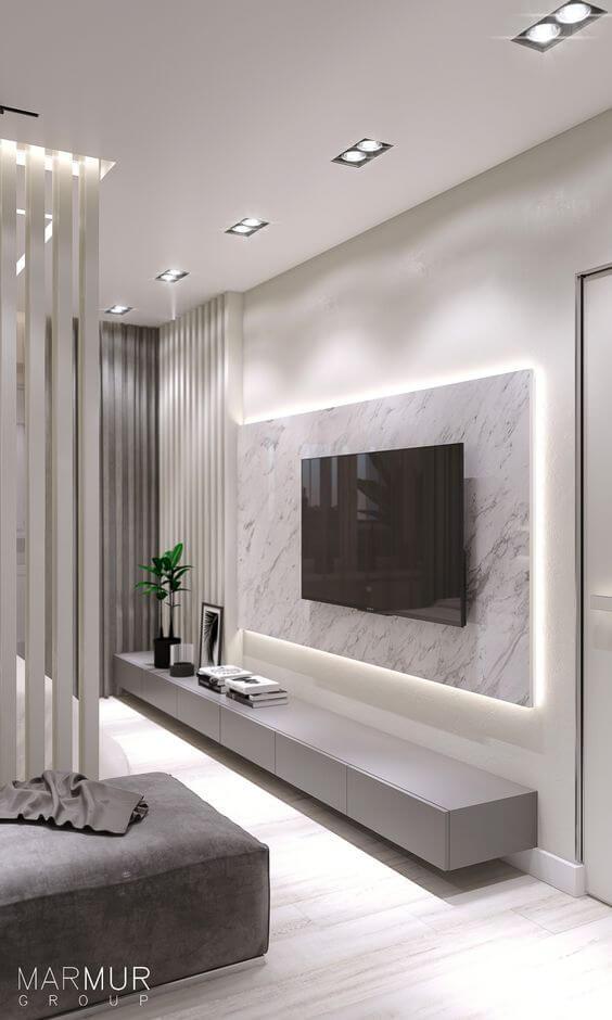Painel para Tv com cores de mármore branco