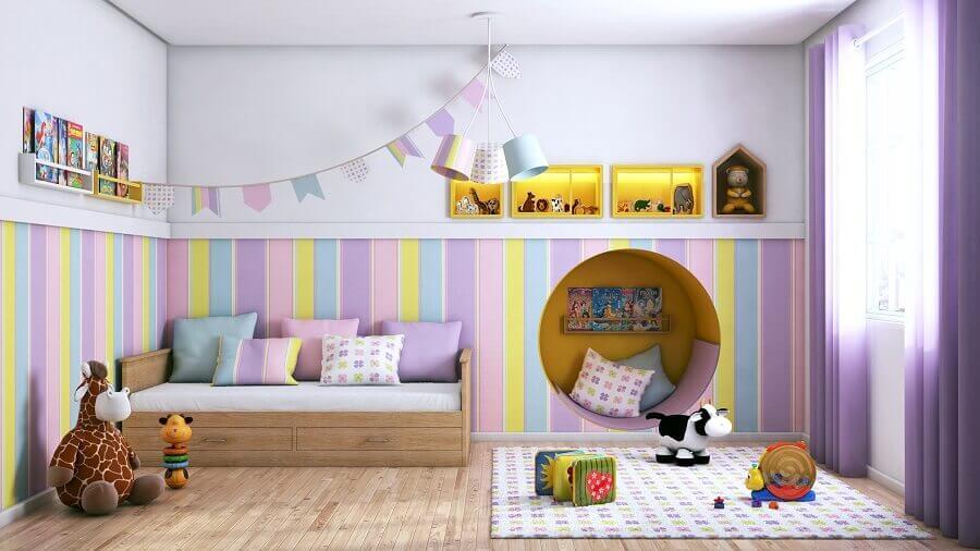 papel de parede candy colors listrado para quarto infantil planejado Foto Archtrends