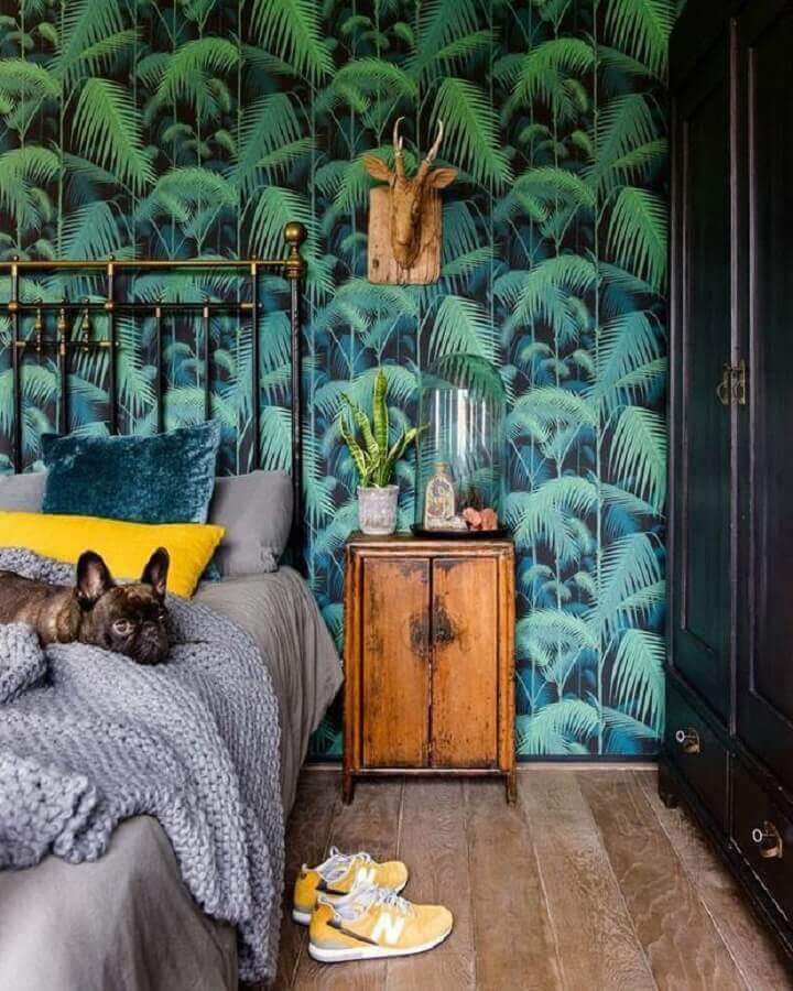 papel de parede colorido para quarto com estampa de folhagens  Foto Pinterest