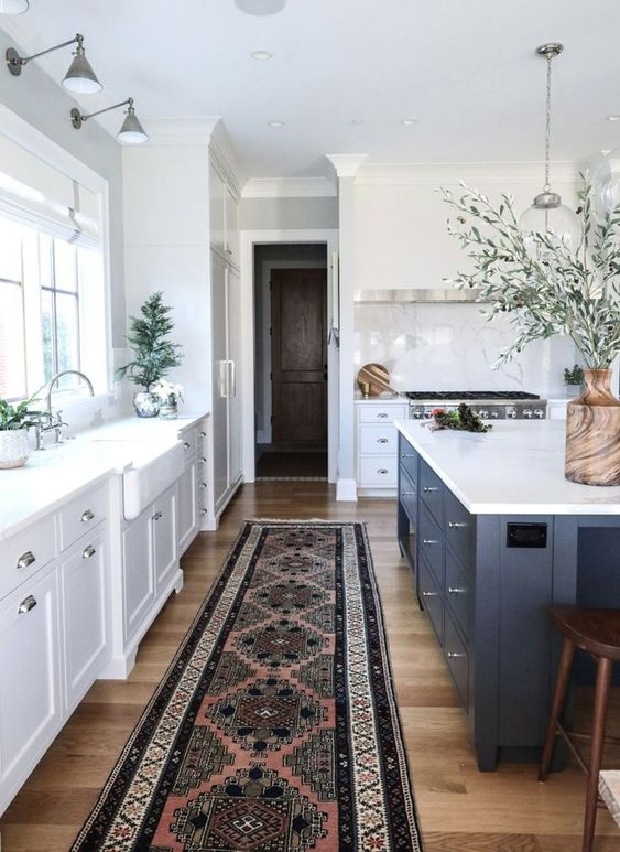 Passadeira estampada para cozinha branca e azul