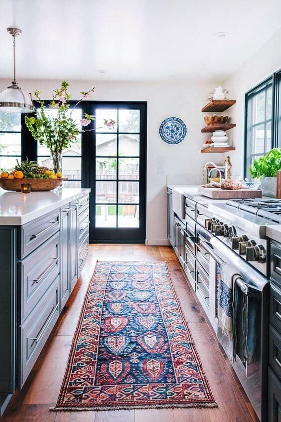 Passadeira para cozinha estampada e colorida