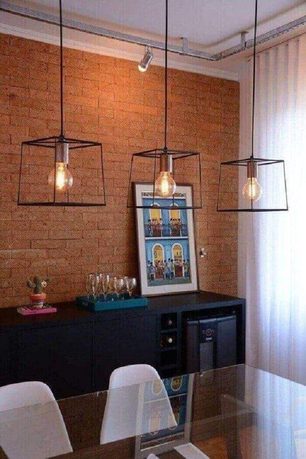 pendente estilo industrial para sala de jantar decorada com parede de tijolinho Foto Pinterest