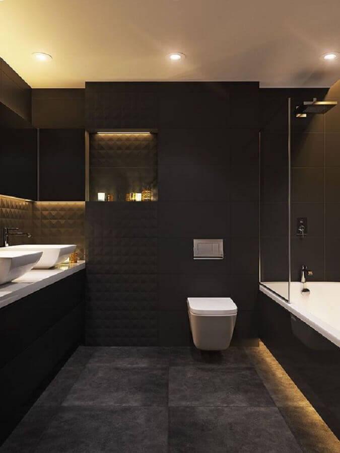 piso de cimento queimado para decoração de banheiro preto e cinza moderno  Foto Pinterest