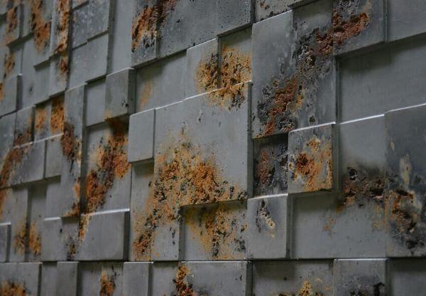 Placas de revestimento 3D para sala com acabamento enferrujado