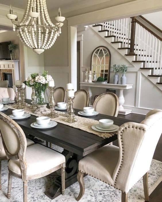 Poltrona para mesa de jantar bege