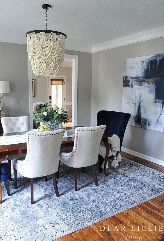 Poltrona para mesa de jantar clássica azul e branca